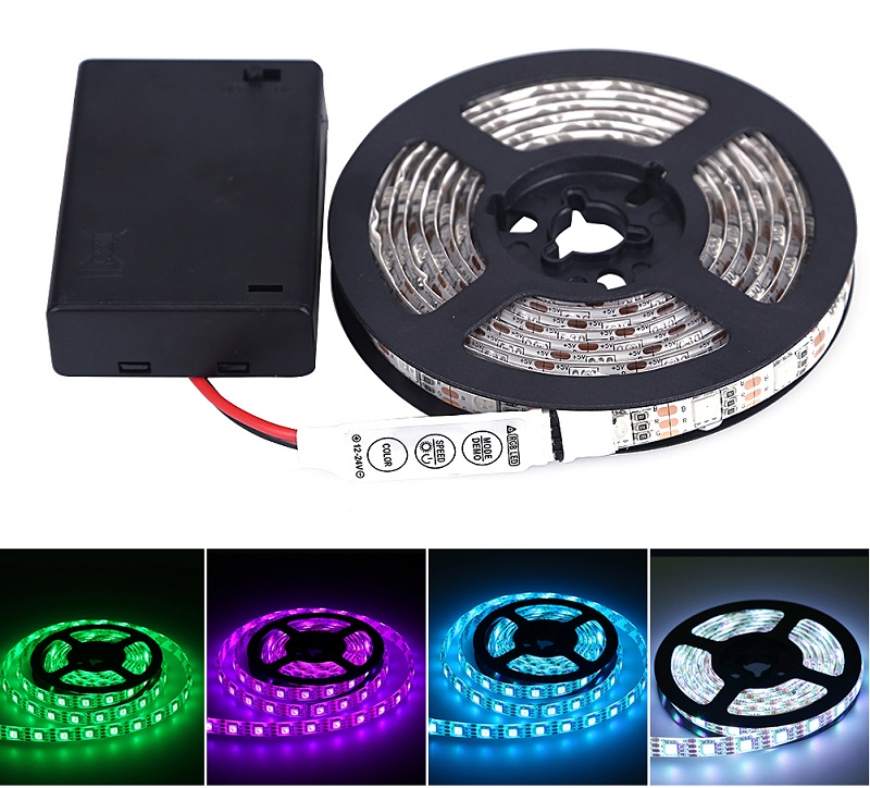 Lighting LED pásek 2m/60diod 12W/2m IP65 RGB na baterii