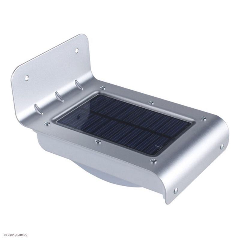 Solární svítidlo s PIR čidlem - 2,5W stříbrné (Solární světlo se světelným a pohybovým senzorem)