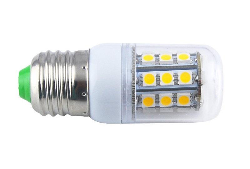 SMD Lighting LED žárovka E27 4W SMD 5050 bílá teplá (LED žárovka 27x SMD 5050 s krytem)