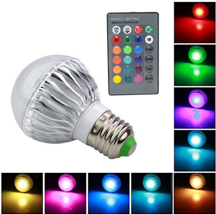 Light LED žárovka E27 4W RGB - 3 kusy (Žárovka kulatá LED 4W RGB s dálkovým ovladačem)