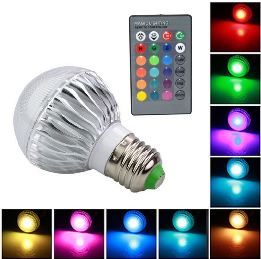 Light LED žárovka E27 4W RGB - 3 kusy