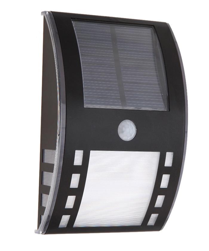 Nástěnné solární světlo s PIR čidlem teplá bílá (Solární LED světlo s PIR čidlem pohybu)