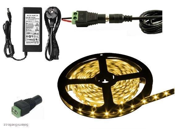 Lighting LED pásek 5630, 2,5M/150diod 30W voděodolný teplá bílá + zdroj (Voděodolný pásek 5630 2,5 metrů komplet)