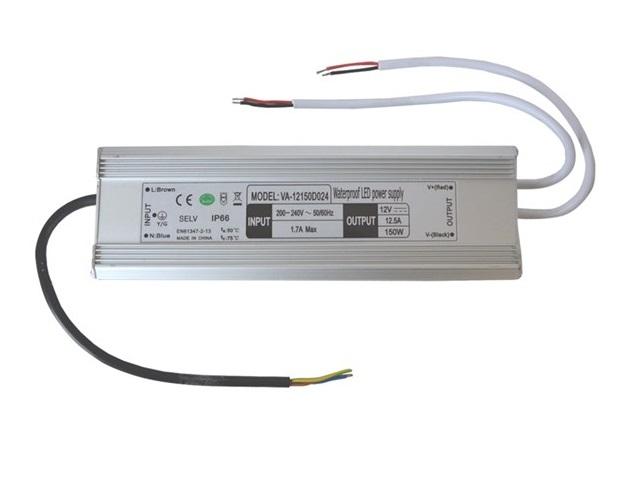 Zdroj spínaný pro LED diody + pásky IP66, 12V/150W/12,5A (Napájecí zdroj pro LED pásky 150W 12V 12,5A)