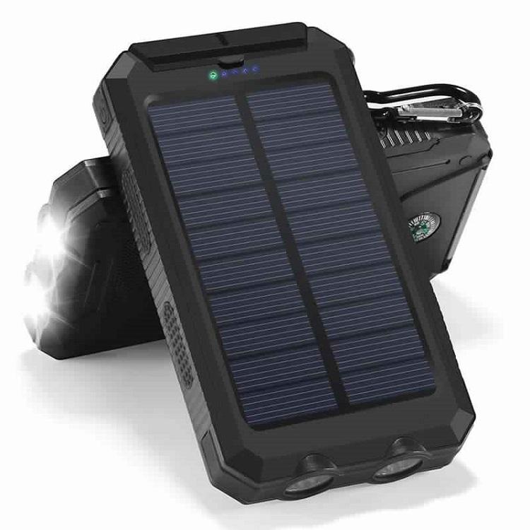Speed S1000 Solární Powerbank 10000 mAh, černá, 2x LED (Praktická solární nabíječka se svítilnou)