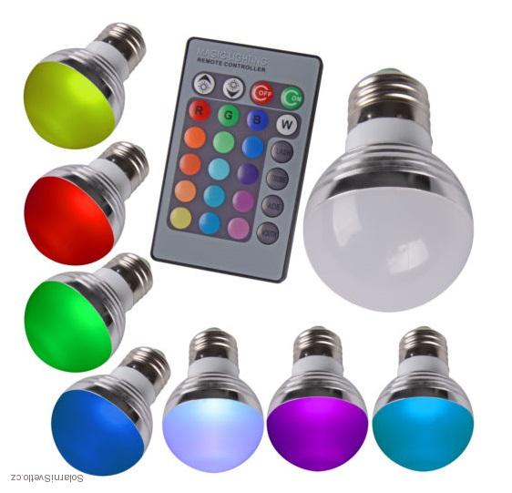 RGB LED Žárovka 3W kulatá E27 (Žárovka kulatá LED 3W RGB s dálkovým ovladačem)