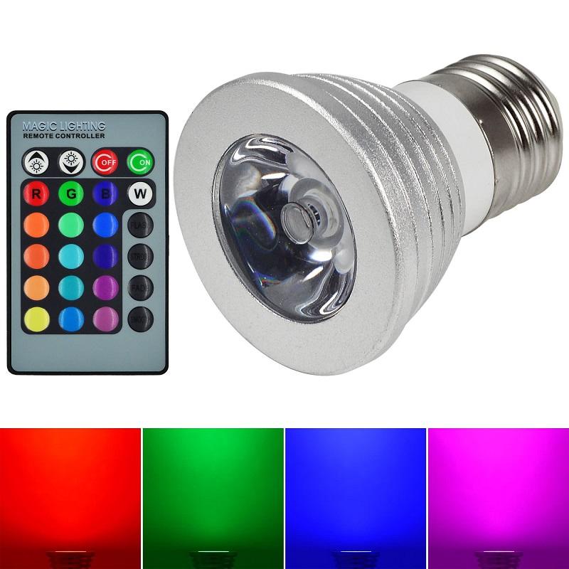 RGB LED žárovka E27 3W RGB s dálkovým ovladačem 3 kusy (Výhodná cena setu 3 kusů žárovek)