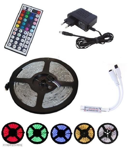 Lighting LED pásek RGB Komplet 3528 5m/300diod 24W voděodolný + DO + zdroj (Voděodolný pásek 5metrů multicolor)