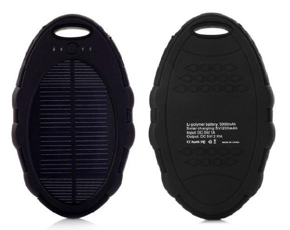 Solární nabíječka SOLAR N5006 5000mAh černá (Praktická Outdoorová solární nabíječka se svítilnou)
