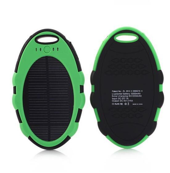 Solární nabíječka SOLAR N5008 5000mAh zelená (Praktická Outdoorová solární nabíječka se svítilnou)