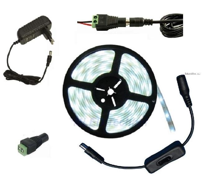 Lighting LED pásek 3 metry/180diod 15W IP20 denní bílá + zdroj (LED pásek 3528 3 metry komplet)