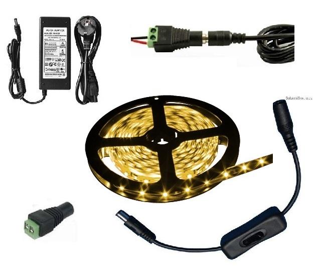 Lighting LED pásek 5050, 3 metry/180diod 42W IP20 teplá bílá + zdroj (LED pásek 5050 3 metry komplet)