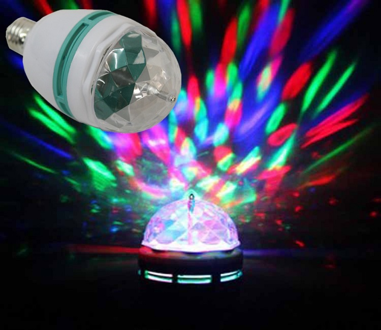 LED Light Disco LED žárovka E27, 3W (LED žárovka E27 rotační s měnitelným barevným spektrem)