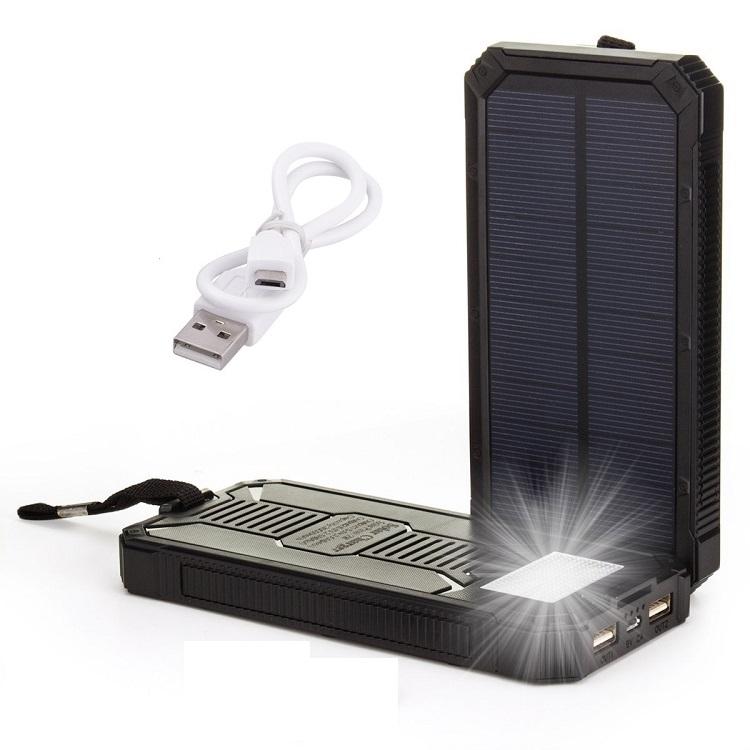 Speed S6-5200 Solární Powerbank 5 200 mAh, černá, 6x LED (Praktická solární nabíječka se svítilnou)