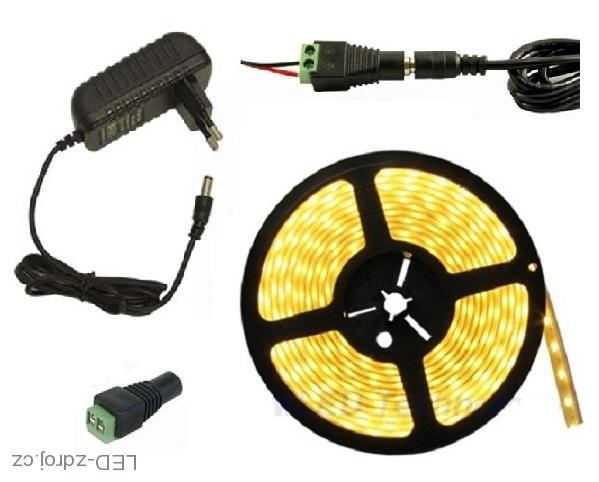 Lighting LED pásek 5630, 1,5M/90diod 18W voděodolný teplá bílá + zdroj (Voděodolný pásek 5630 1,5 metrů komplet)