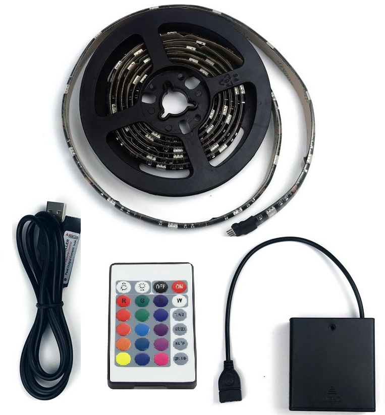 Lighting LED pásek 4metry/120diod 6W/1M IP65 RGB na baterii, DO 24
