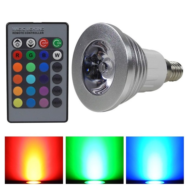 RGB LED žárovka E14 3W color