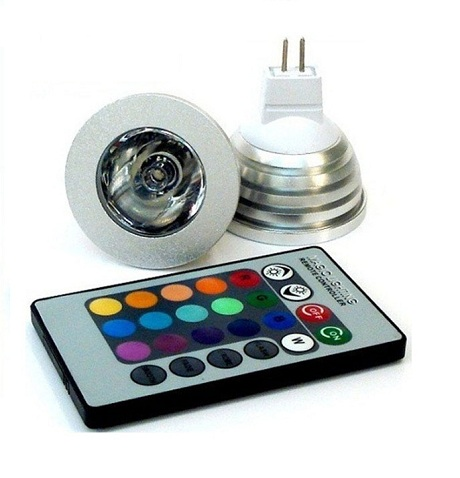 LED MR16 12V - 3W RGB color + dálk.ovl.