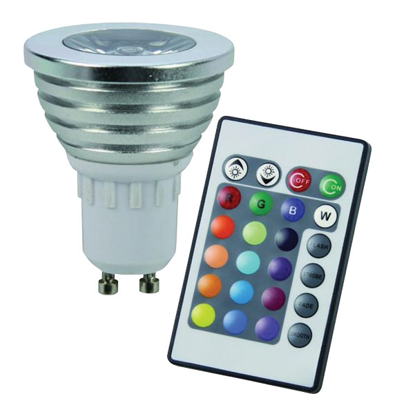 RGB LED žárovka GU10 3W color set 3 kusy