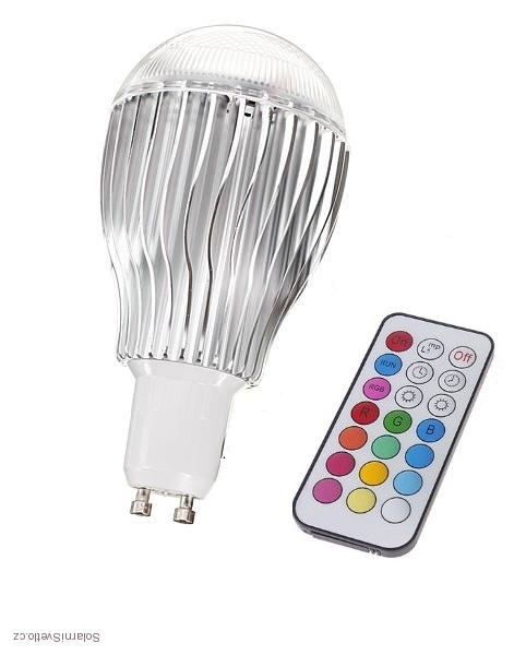 RGB LED žárovka kulatá GU10 5W color