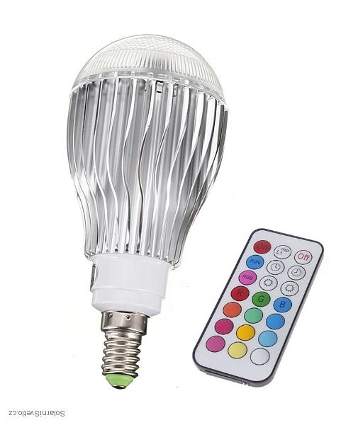 RGB LED žárovka kulatá E14 5W color