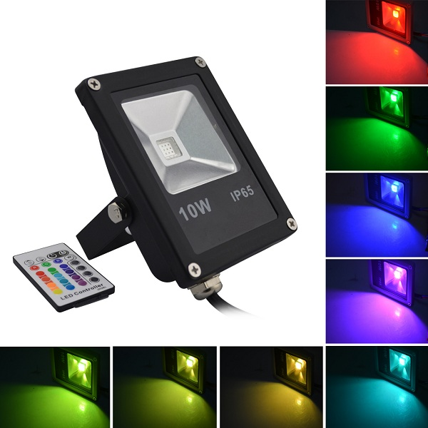 Lighting RGB LED reflektor 10W, halogen 230V černý slim
