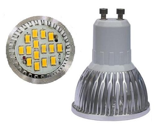 LED žárovka GU10 6W smd lighting bílá čistá (15x SMD 5630)