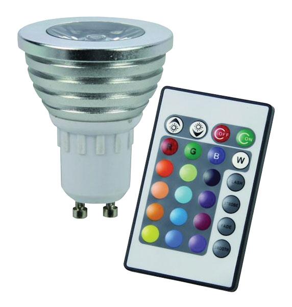 RGB LED žárovka GU10 3W color set 3 kusy (Multicolor s DO set 3 kusy)