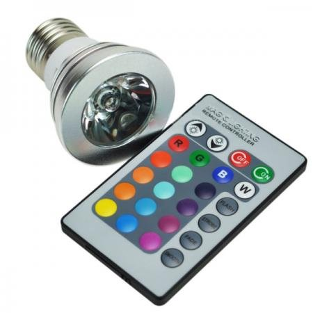 RGB LED žárovka E27 3W RGB s dálkovým ovladačem (LED žárovka s měnitelným barevným spektrem na dálkové ovládání )