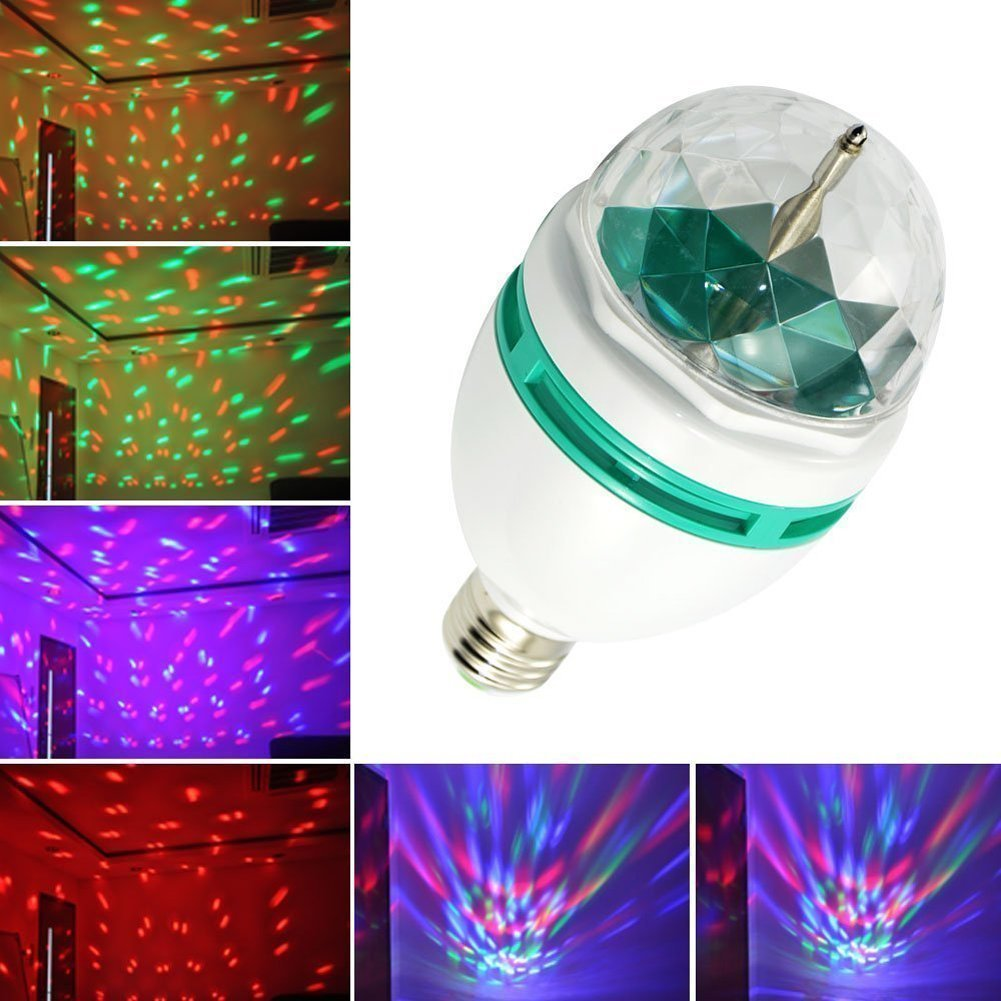 Light LED Disko žárovka E27, 3W RGB set 3 kusy (LED žárovka rotační s měnitelným barevným spektrem)