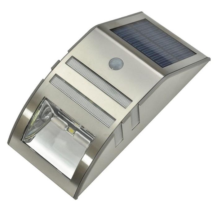Solární svítidlo s PIR čidlem, stříbrné (Solární LED světlo s PIR čidlem)