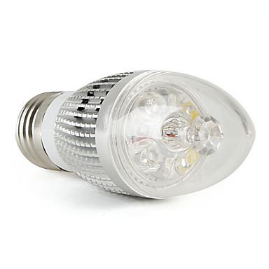 LED Light LED žárovka svíčka E27 3W bílá teplá (LED žárovka svíčka stříbrná)