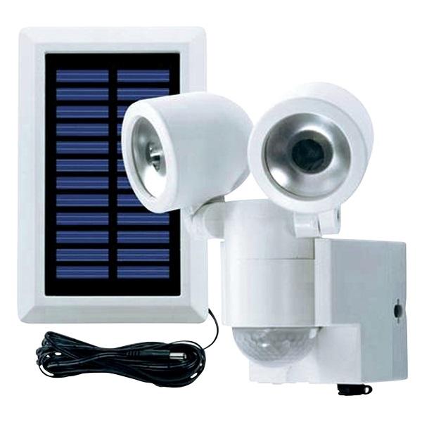 Svítidlo LED - solární reflektor s PIR čidlem DUO bílé (Zahradní svítidlo s PIR čidlem)
