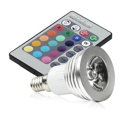 RGB LED žárovka E14 3W color (LED žárovka s dálkovým ovladačem)