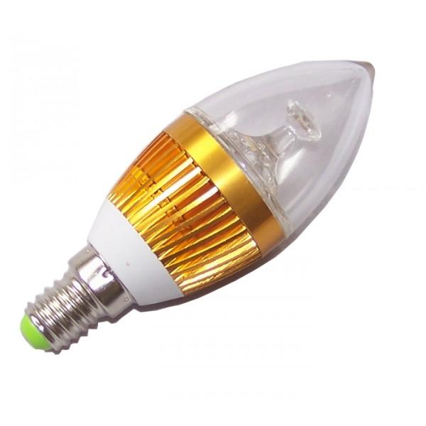 LED Light LED žárovka svíčka E14 3W teplá bílá (LED žárovka svíčka E14 zlatá)