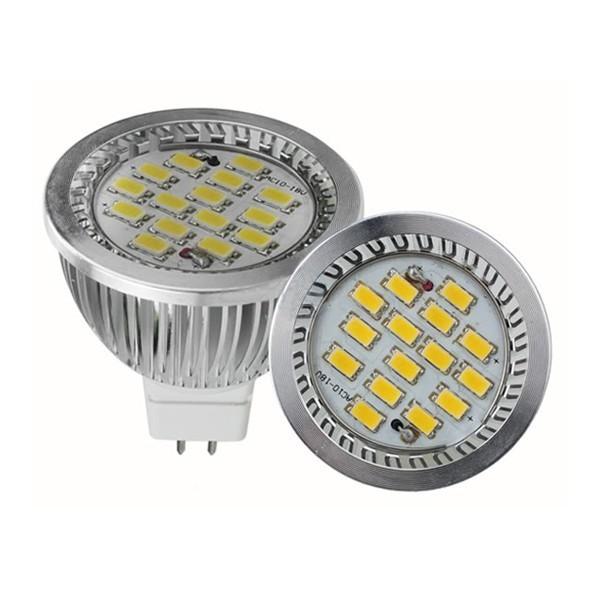 LED žárovka MR16 6W SMD Lighting bílá teplá (12V 15x SMD 5630)