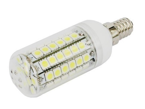 SMD Lighting LED žárovka E14 6,5W 69x SMD 5050 s krytem - bílá čistá (LED žárovka 69x SMD 5050 s krytem)