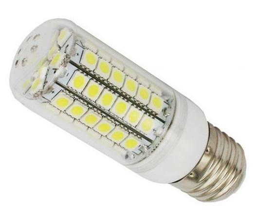 LED SMD LED žárovka E27 6,5W 69x SMD 5050 s krytem - bílá čistá (LED Žárovka 69x SMD 5050 s krytem)