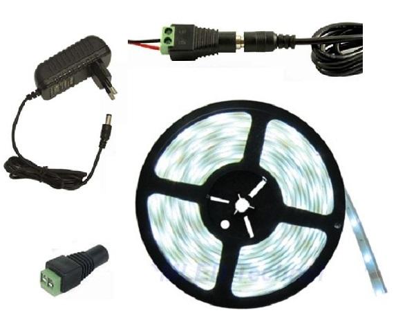 Lighting LED pásek 3 metry/180diod 15W voděodolný čistá bílá + zdroj (Voděodolný pásek 3528 3 metry komplet)