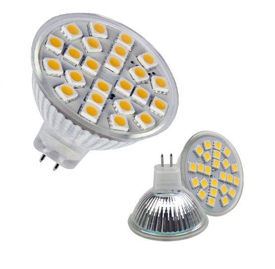 LED žárovka MR16 4W SMD Lighting bílá čistá (12V 24x SMD 5050)