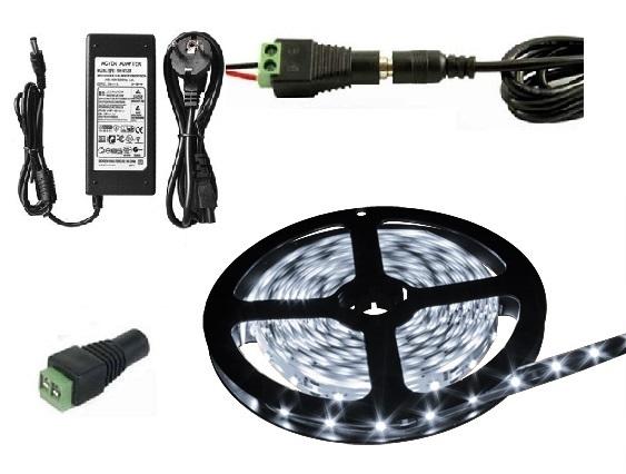 Lighting LED pásek 5050, 3 metry/180diod 42W voděodolný čistá bílá + zdroj (Voděodolný pásek 5050 3 metry komplet)
